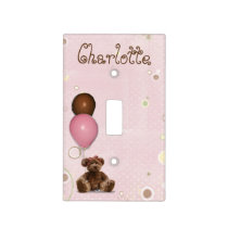 Pink Baby Nursery Teddy Bear Light Switch Cover
