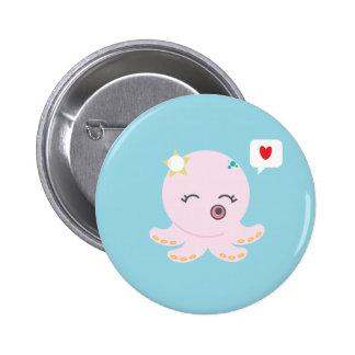 Pink Baby Octopus 2 Inch Round Button