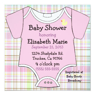 Pink Baby Outfit Shower Card