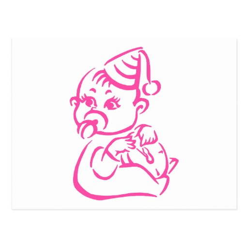 Pink baby outline post card
