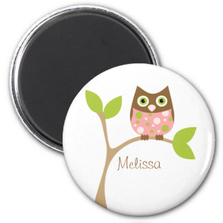 Pink Baby Owl 2 Inch Round Magnet