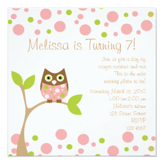 """Pink Baby Owl 5.25"""" Square Invitation Card"""