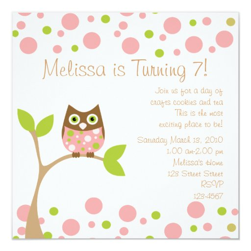 "Pink Baby Owl 5.25"" Square Invitation Card"