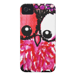 Pink baby owl art Case-Mate iPhone 4 case