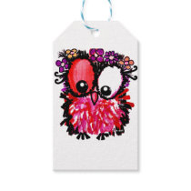 Pink baby owl art gift tags