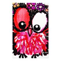 Pink baby owl art stationery