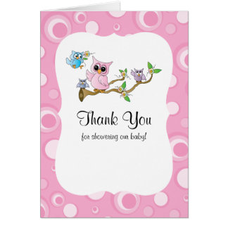 Pink Baby Owl Baby Shower Thank You Card