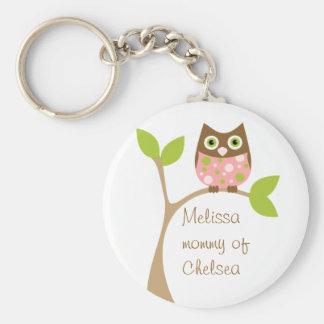 Pink Baby Owl Basic Round Button Keychain