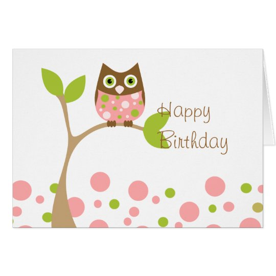 Pink Baby Owl Card