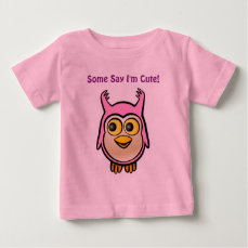 Pink Baby Owl Cartoon Baby T-Shirt