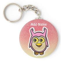 Pink Baby Owl Cartoon Keychain