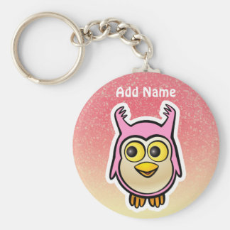 Pink Baby Owl Cartoon Keychain