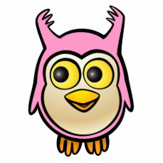 Pink Baby Owl Cartoon Statuette