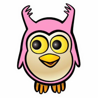 Pink Baby Owl Cartoon Statuette