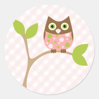 Pink Baby Owl Classic Round Sticker