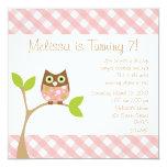 Pink Baby Owl Custom Invitations