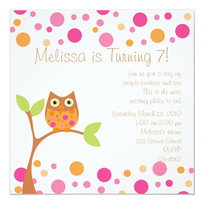 Pink Baby Owl-Hot Pink By Request Card