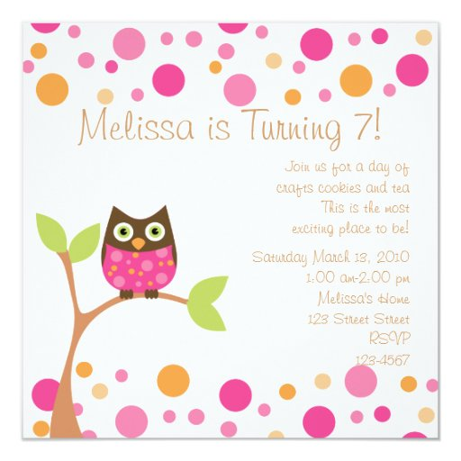 """Pink Baby Owl-Hot Pink By Request 5.25"""" Square Invitation Card"""