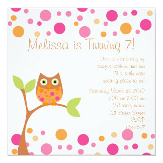 Pink Baby Owl-Hot Pink By Request 5.25x5.25 Square Paper Invitation Card
