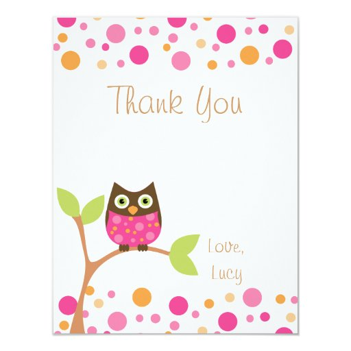 Pink Baby Owl-Hot Pink By Request-Thank You Note 4.25x5.5 Paper Invitation Card