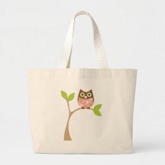 Pink Baby Owl Large Tote Bag