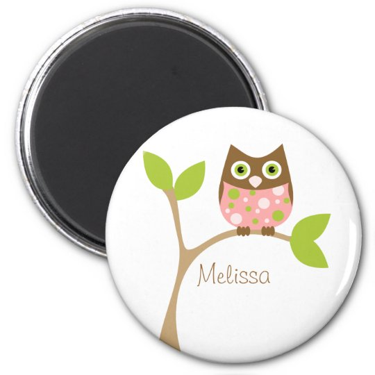 Pink Baby Owl Magnet
