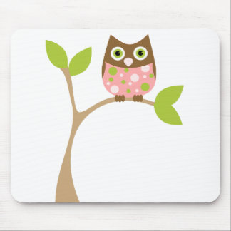 Pink Baby Owl Mouse Pad