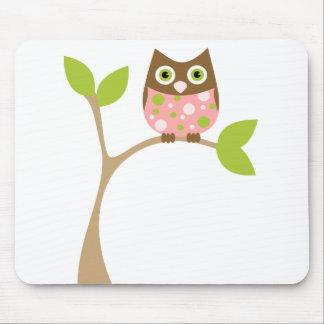 Pink Baby Owl Mousepad