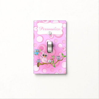 Pink Baby Owl | Nursery Theme Light Switch Cover