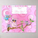 Pink Baby Owl   Nursery Theme Poster