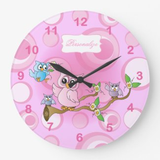 Pink Baby Owl Nursery Theme Wallclocks