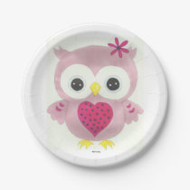 Pink Baby Owl Paper Plates