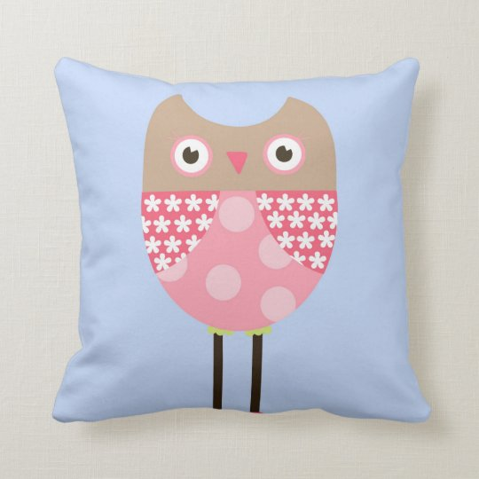 Pink Baby Owl Pilloq Throw Pillow