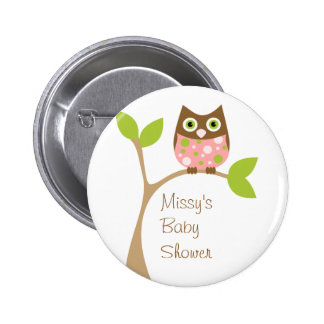 Pink Baby Owl Pinback Button