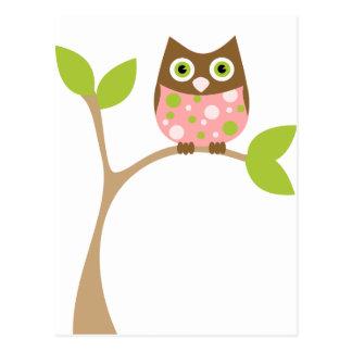 Pink Baby Owl Postcard