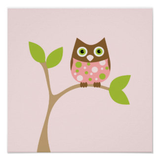 Pink Baby Owl Posters