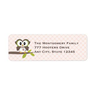 Pink Baby Owl Return Address Labels