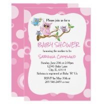 Pink Baby Owl | Shower Theme Card