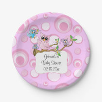 Pink Baby Owl | Shower Theme | DIY Text Paper Plate