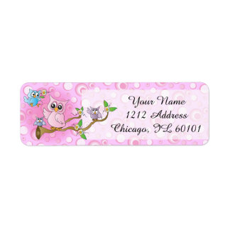 Pink Baby Owl   Shower Theme Label