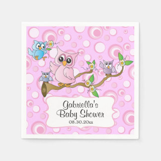 Pink Baby Owl | Shower Theme Paper Napkin
