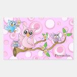 Pink Baby Owl   Shower Theme Rectangular Sticker