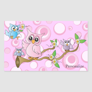 Pink Baby Owl | Shower Theme Rectangular Sticker