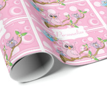 Pink Baby Owl | Shower Theme Wrapping Paper