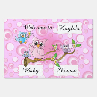 Pink Baby Owl   Shower Theme Lawn Sign