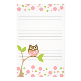 Pink Baby Owl Stationery