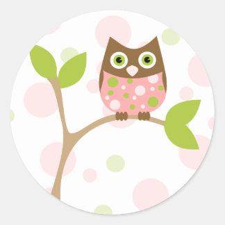 Pink Baby Owl Round Stickers