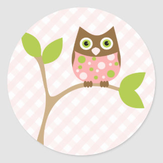 Pink Baby Owl Stickers