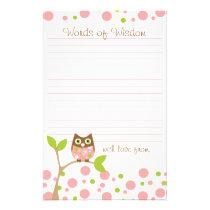 Pink Baby Owl Words of Wisdom Flyer