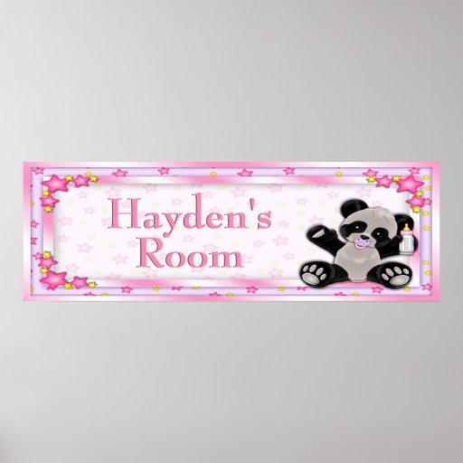 Pink Baby Panda Customizable Room Name Poster
